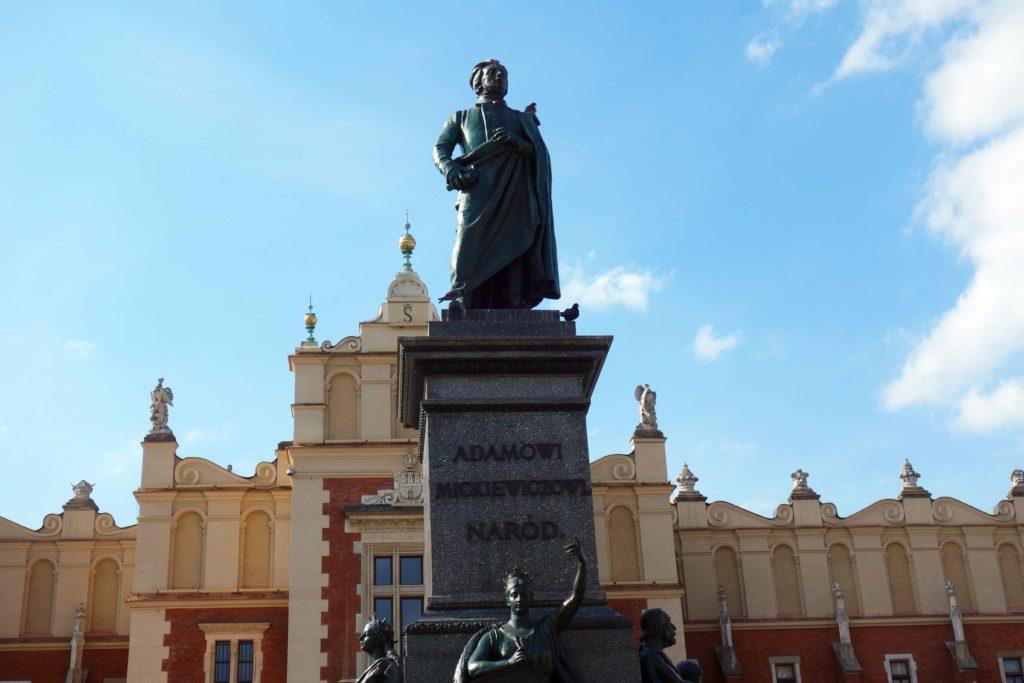 Statue Adam Mickiewicz Rynek Krakau