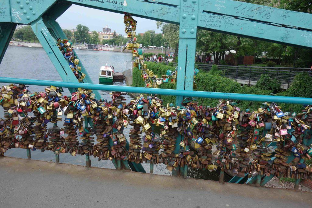 Liebesschlösser Dombrücke Breslau