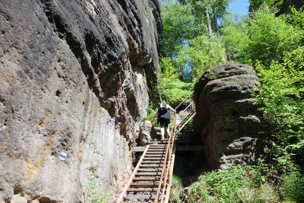 Treppe für Wanderer sächsische Schweiz