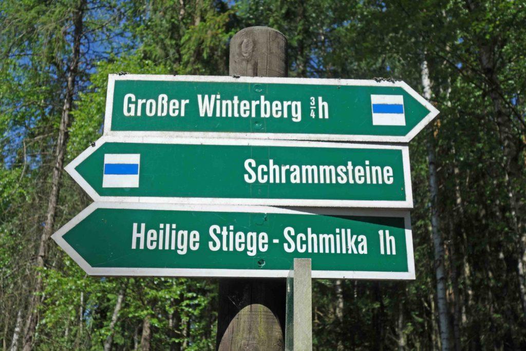 Wegweiser für Wanderer in der sächsischen Schweiz